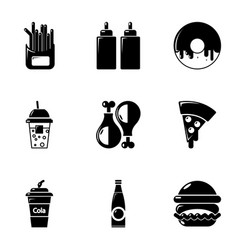 food and drinks icons set simple style vector image vector image