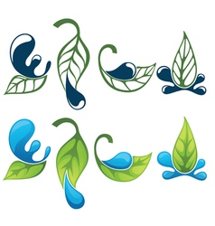 green leaves images and silhouettes vector image vector image
