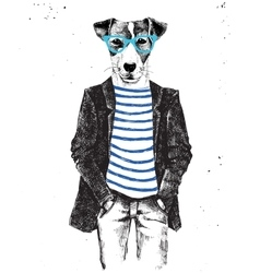 Hand drawn dressed up dog in hipster style vector image vector image