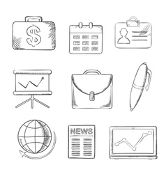 Office and business icons set sketch style vector image vector image