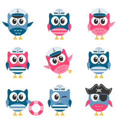 set of funny owls sailors vector image vector image