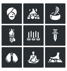 Set of indian yoga icons yogi burning vector