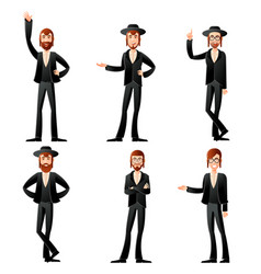 set of jew icons vector image vector image