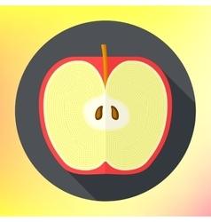 Flat apple cut icon vector image vector image