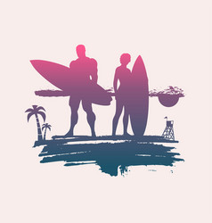 lady and man posing with surfboard vector image