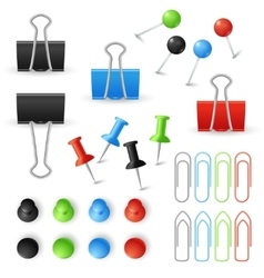 Paper clips binders and pins set vector image