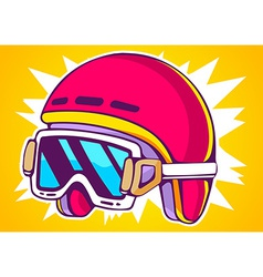 red fashion helmet on yellow background vector image vector image