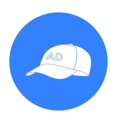 Baseball cap advertising icon in black style vector image vector image
