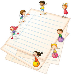 Children playing at the paper borders vector image