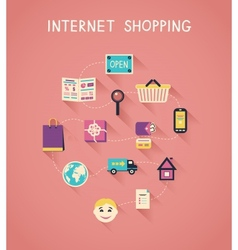 Internet marketing and online shopping vector image vector image