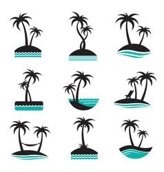 palm labels set vector image