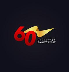 60 years anniversary celebration elegant gold vector