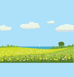 a rural cute landscape a beautiful view fields vector image