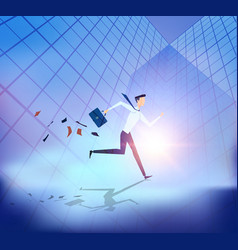 Abstract business people running with building vector