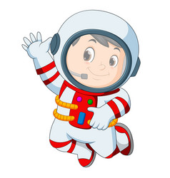 Astronaut outfit waving hand vector