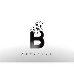 B logo letter with flock of birds flying and vector