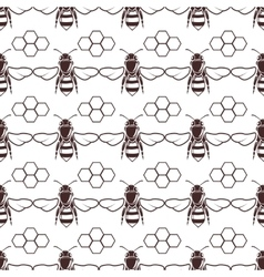 Bee and honey seamless background vector