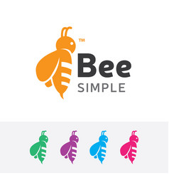 Bee simple logo design vector