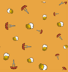 Beer and frankfurter pattern seamless color vector