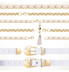 Belt on chain with a tassel white leather belt vector