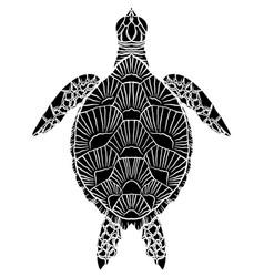 Black and white silhouette a sea turtle top vector