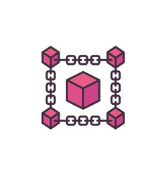 Blockchain technology crypto red icon or vector