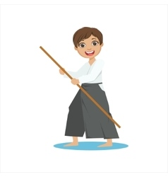 Boy With The Pole In Wide Trousers On Karate vector