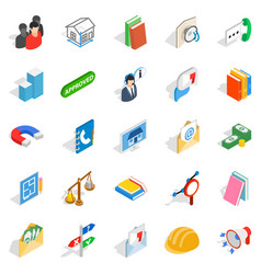 Brigade icons set isometric style vector