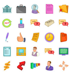 Business manager icons set cartoon style vector