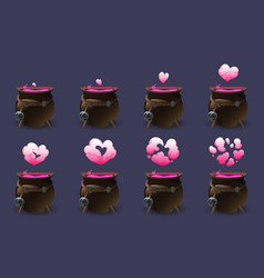 cauldron with potion motion sequence animation vector image