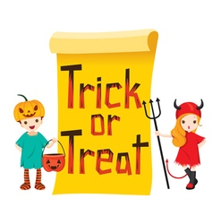 Children in Halloween Costume with Banner vector image
