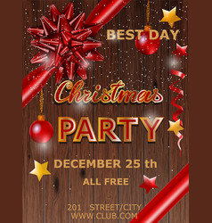 christmas party design poster with bow vector image
