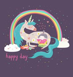 Cute cartoon girl with unicorn vector