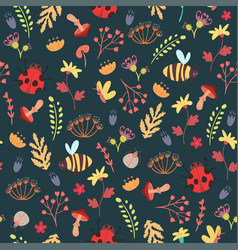 cute forest seamless pattern vector image