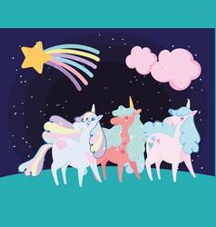 cute little unicorns rainbow hair horn shooting vector image