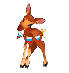 cute young forest deer holding a garland of flags vector image