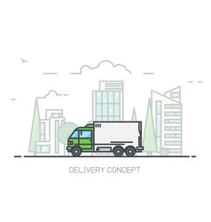 Delivery city truck vector