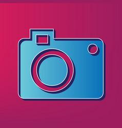 digital camera sign blue 3d printed icon vector image