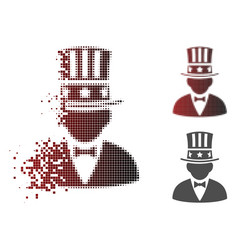 Dissolved dotted halftone capitalist icon vector