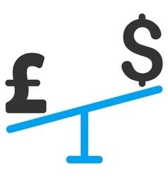 Dollar Pound Swing Flat Icon Symbol vector image