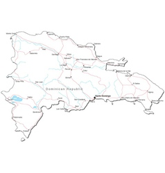 Dominican Republic Black White Map vector image