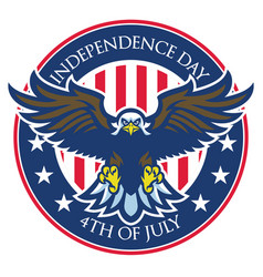 Eagle badge of independence day of united states vector
