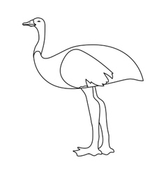 Emu icon in outline style isolated on white vector