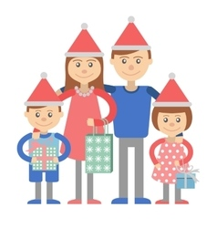Family with Christmas shopping vector image