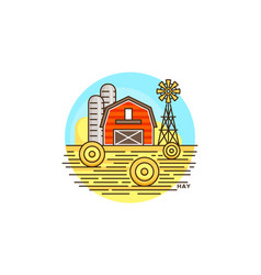 Farming hay line icon farm barn flat vector