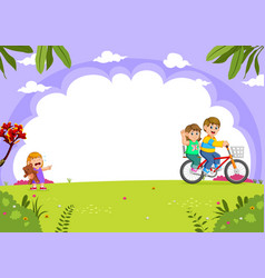 father and mother cycling with daughter crying vector image