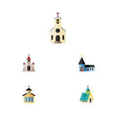 Flat icon building set of catholic architecture vector