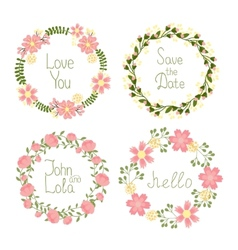 Floral frame wreaths for wedding invitations vector