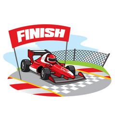 Formula racing car reach finish line vector