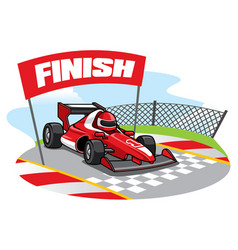 Formula racing car reach the finish line vector